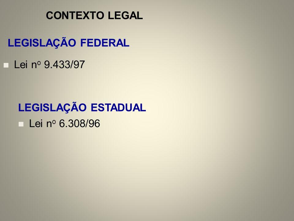 CONTEXTO LEGAL LEGISLAÇÃO FEDERAL Lei no 9.433/97 LEGISLAÇÃO ESTADUAL Lei no 6.308/96
