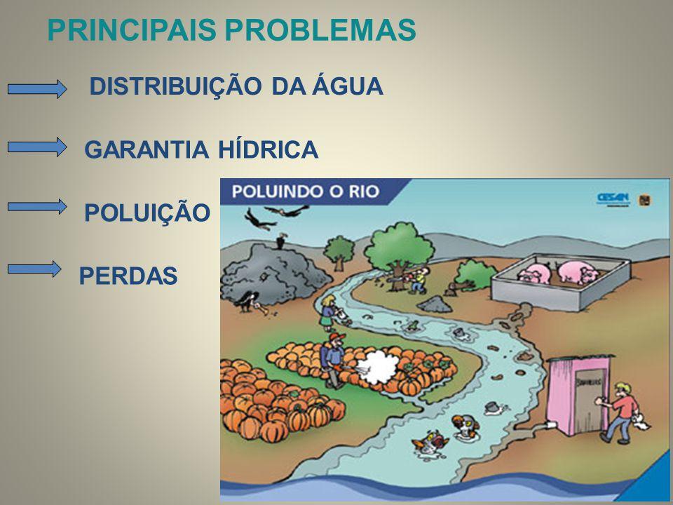 PRINCIPAIS PROBLEMAS DISTRIBUIÇÃO DA ÁGUA GARANTIA HÍDRICA POLUIÇÃO