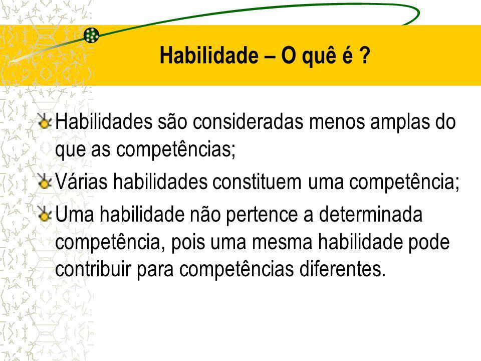 Habilidade – O quê é Habilidades são consideradas menos amplas do que as competências; Várias habilidades constituem uma competência;