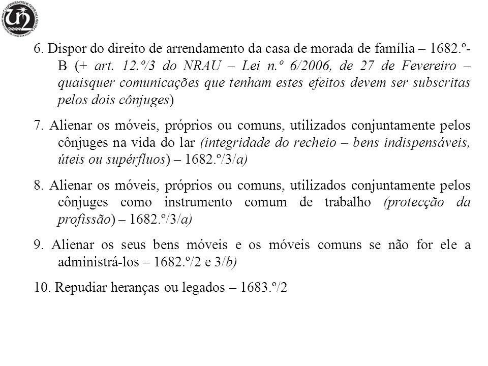 6. Dispor do direito de arrendamento da casa de morada de família – 1682.º-B (+ art. 12.º/3 do NRAU – Lei n.º 6/2006, de 27 de Fevereiro – quaisquer comunicações que tenham estes efeitos devem ser subscritas pelos dois cônjuges)