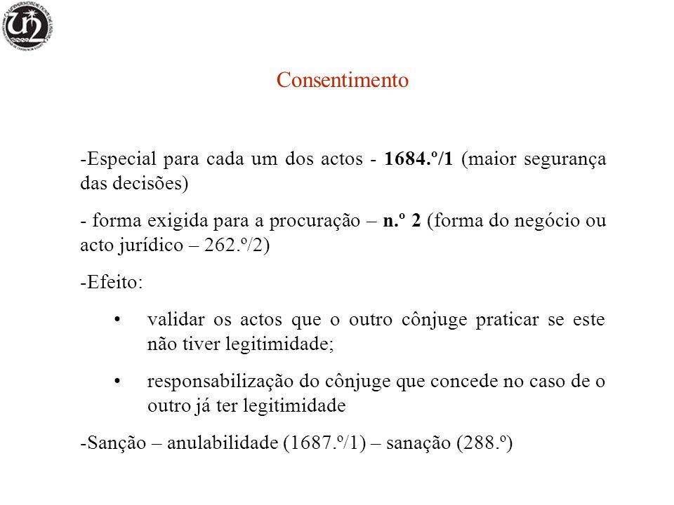 Consentimento Especial para cada um dos actos - 1684.º/1 (maior segurança das decisões)