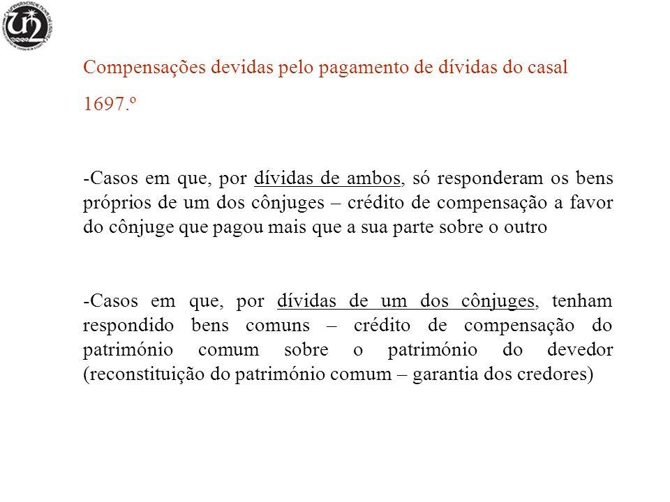 Compensações devidas pelo pagamento de dívidas do casal