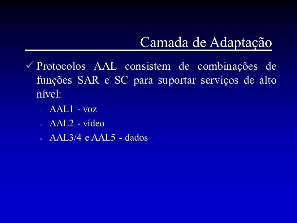 Camada de Adaptação Protocolos AAL consistem de combinações de funções SAR e SC para suportar serviços de alto nível: