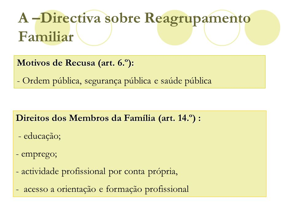 A –Directiva sobre Reagrupamento Familiar