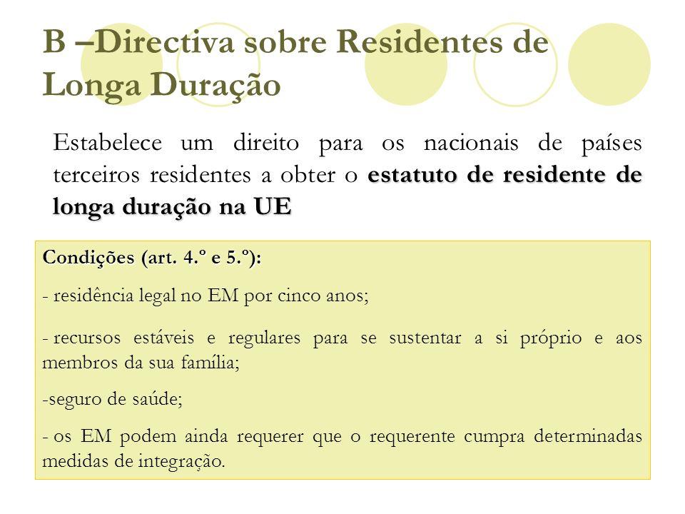 B –Directiva sobre Residentes de Longa Duração