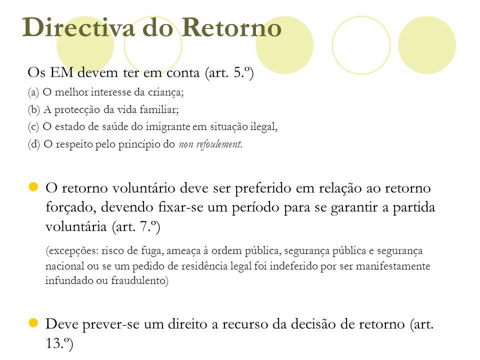 Directiva do Retorno Os EM devem ter em conta (art. 5.º)
