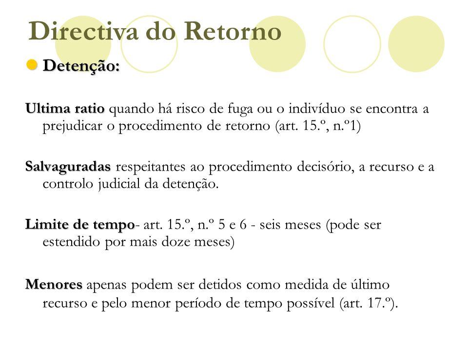 Directiva do Retorno Detenção: