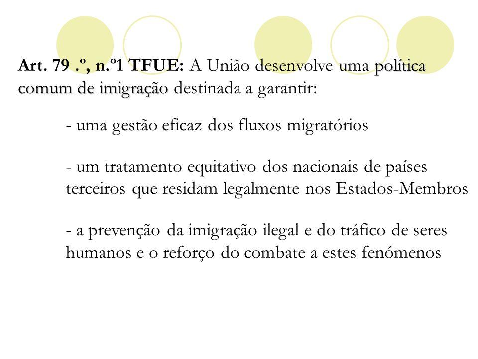 Art. 79 .º, n.º1 TFUE: A União desenvolve uma política comum de imigração destinada a garantir: