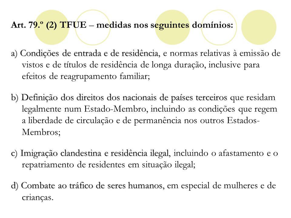 Art. 79.º (2) TFUE – medidas nos seguintes domínios: