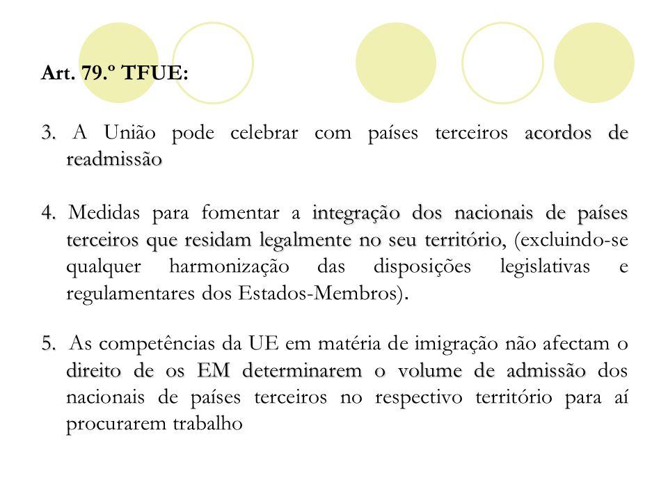 Art. 79.º TFUE:3. A União pode celebrar com países terceiros acordos de readmissão.