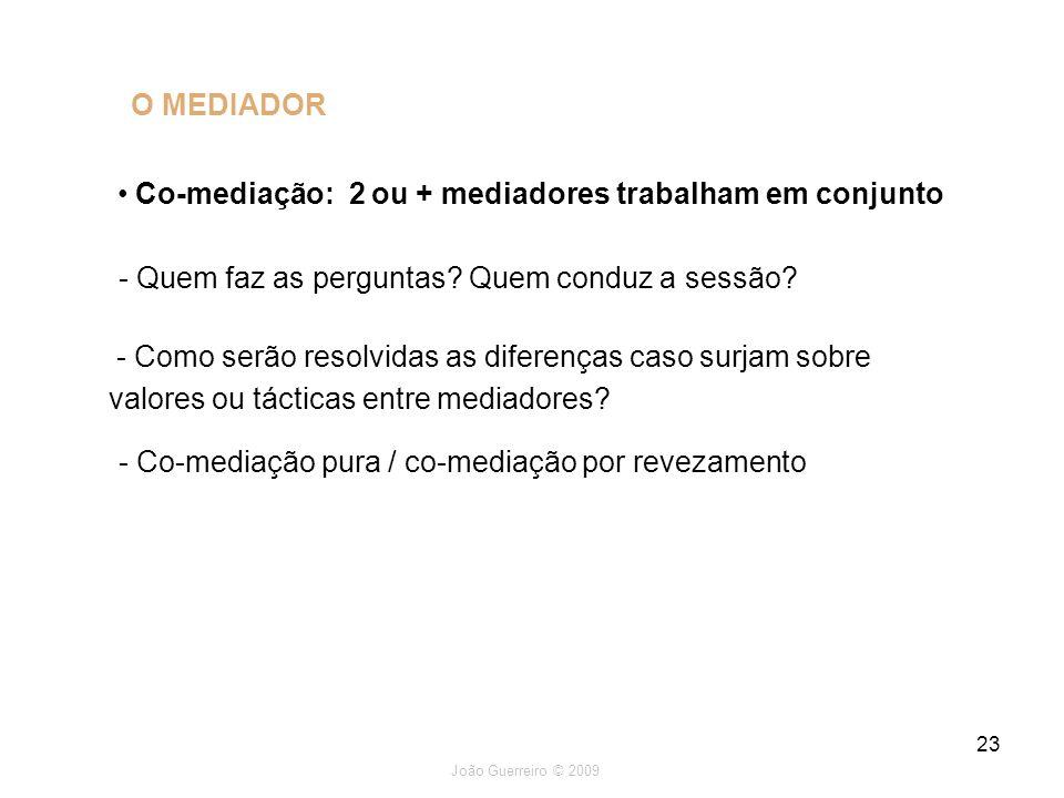 Co-mediação: 2 ou + mediadores trabalham em conjunto