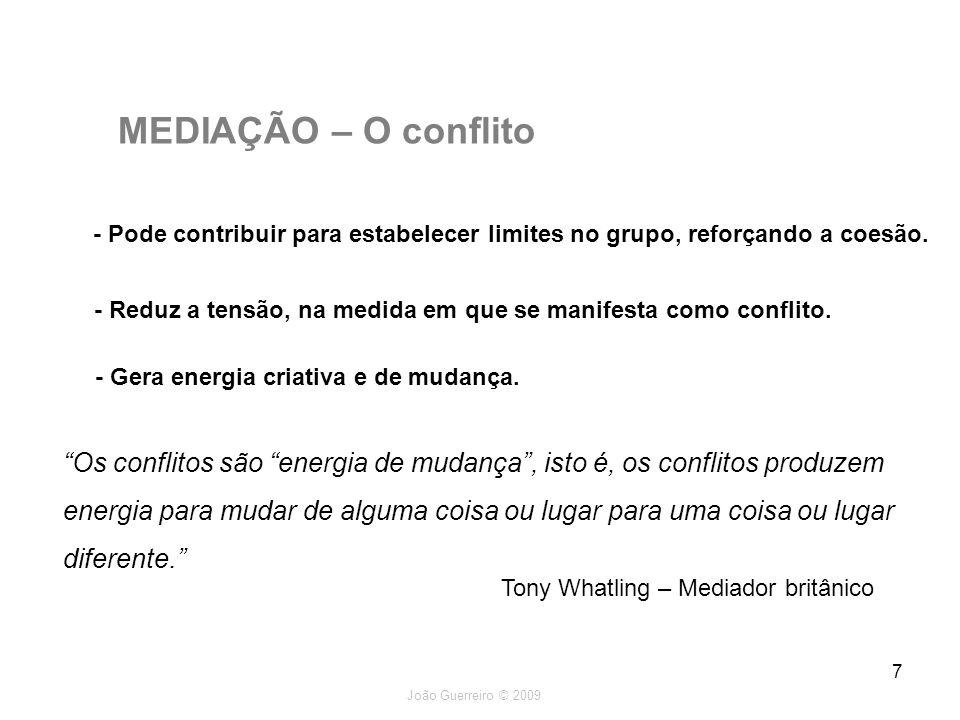 MEDIAÇÃO – O conflito - Pode contribuir para estabelecer limites no grupo, reforçando a coesão.