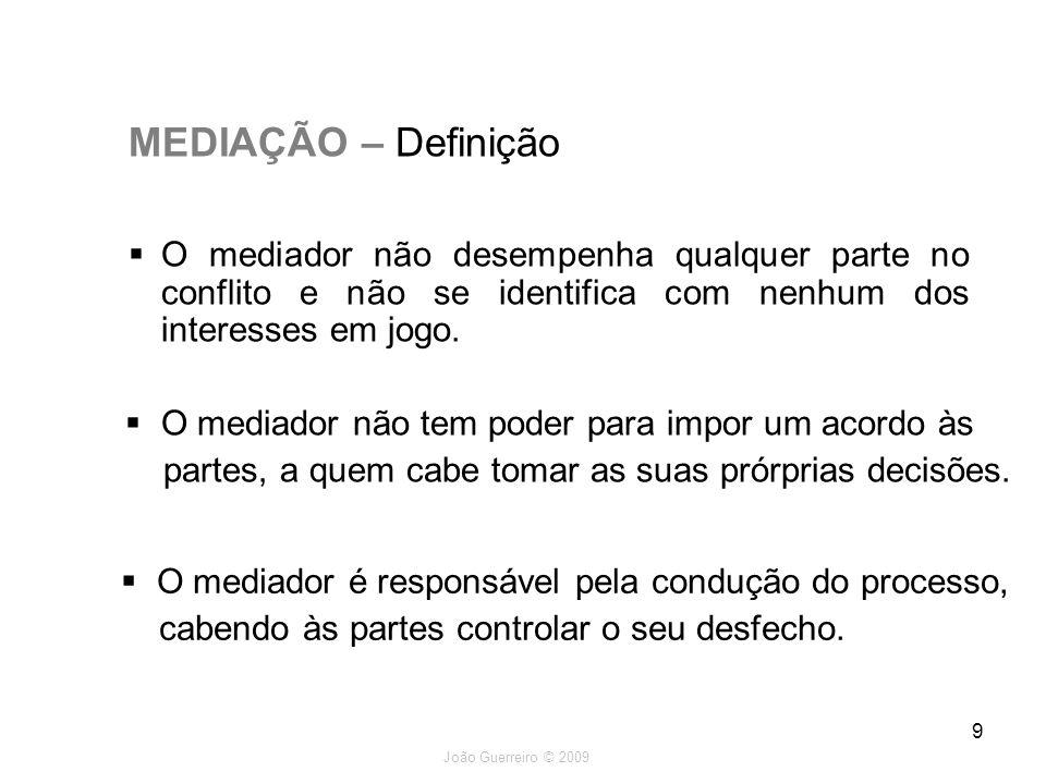 MEDIAÇÃO – Definição O mediador não desempenha qualquer parte no conflito e não se identifica com nenhum dos interesses em jogo.