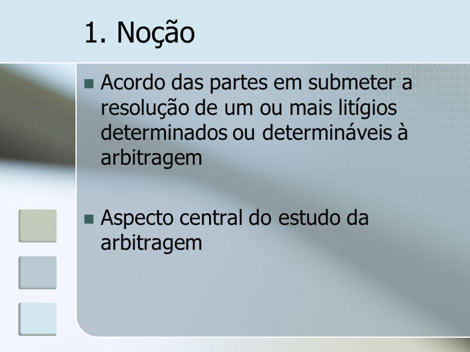 1. Noção Acordo das partes em submeter a resolução de um ou mais litígios determinados ou determináveis à arbitragem.