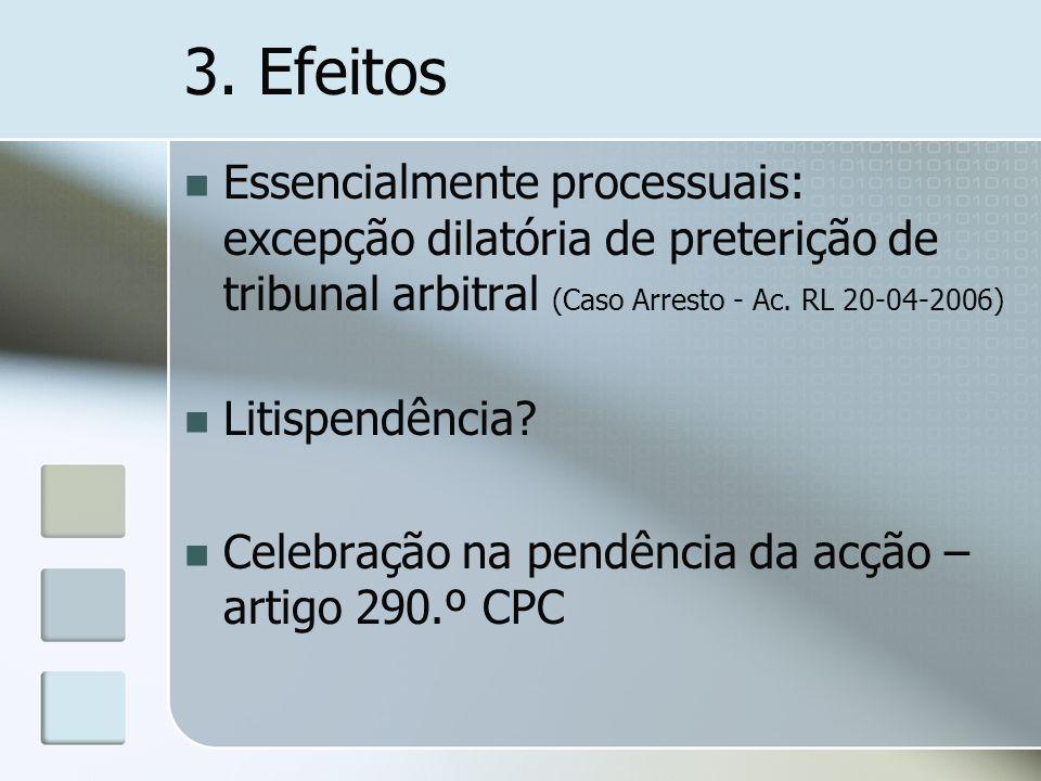 3. EfeitosEssencialmente processuais: excepção dilatória de preterição de tribunal arbitral (Caso Arresto - Ac. RL 20-04-2006)