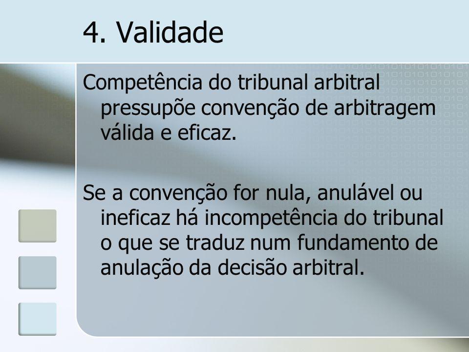 4. Validade Competência do tribunal arbitral pressupõe convenção de arbitragem válida e eficaz.