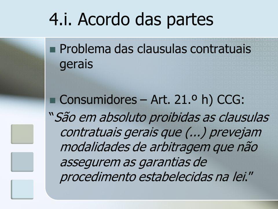 4.i. Acordo das partes Problema das clausulas contratuais gerais