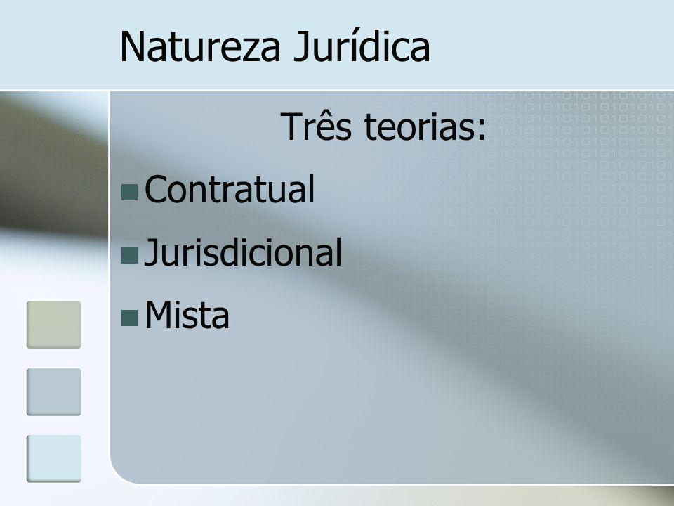 Natureza Jurídica Três teorias: Contratual Jurisdicional Mista