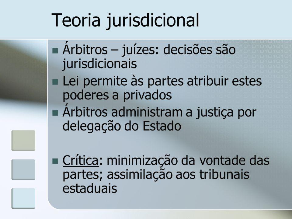 Teoria jurisdicional Árbitros – juízes: decisões são jurisdicionais
