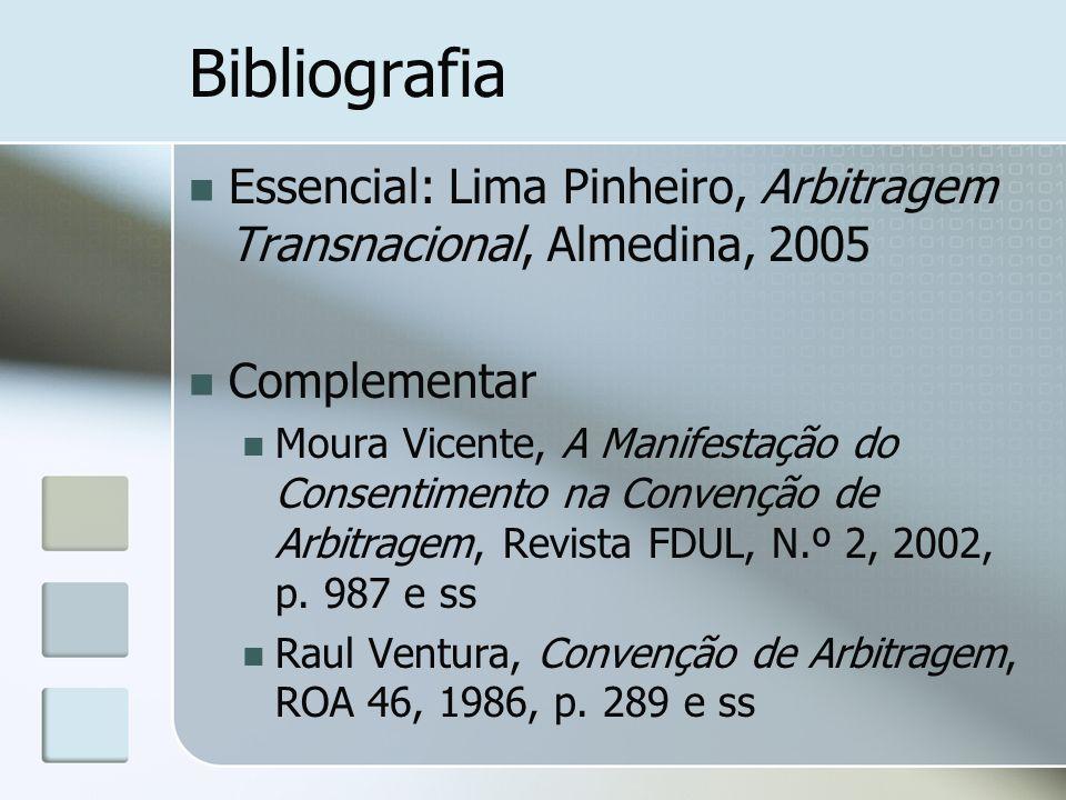 Bibliografia Essencial: Lima Pinheiro, Arbitragem Transnacional, Almedina, 2005. Complementar.