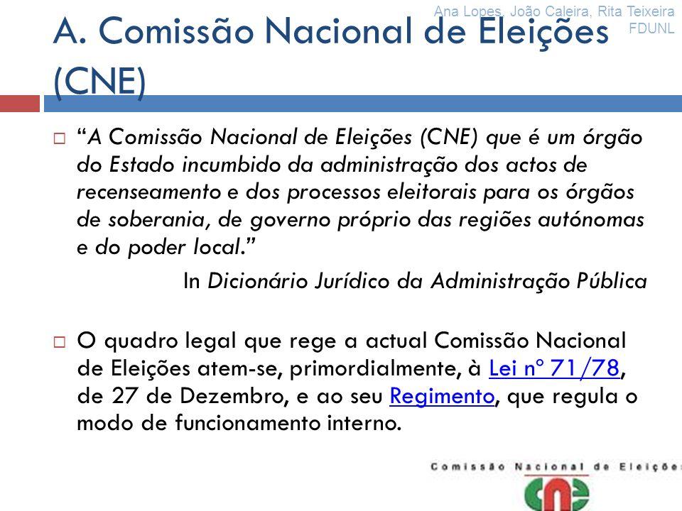 A. Comissão Nacional de Eleições (CNE)