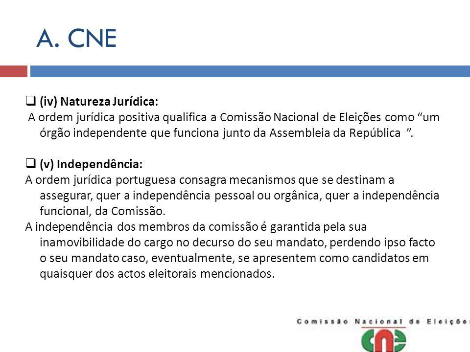 A. CNE (iv) Natureza Jurídica: