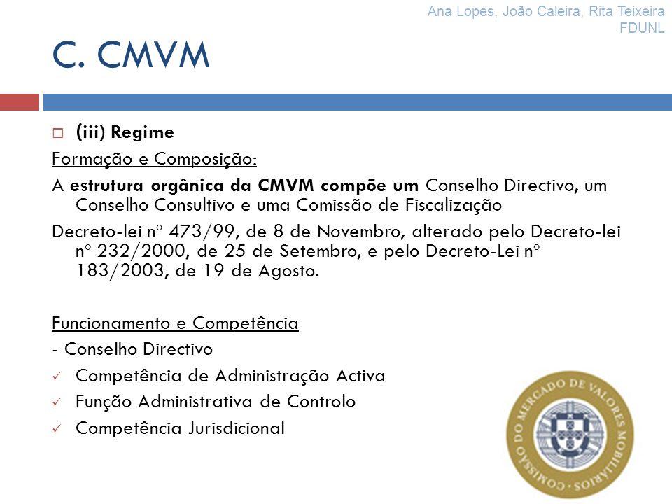 C. CMVM (iii) Regime Formação e Composição: