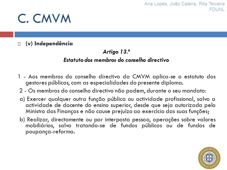 Estatuto dos membros do conselho directivo