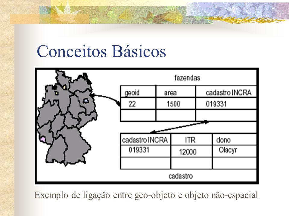 Conceitos Básicos Exemplo de ligação entre geo-objeto e objeto não-espacial