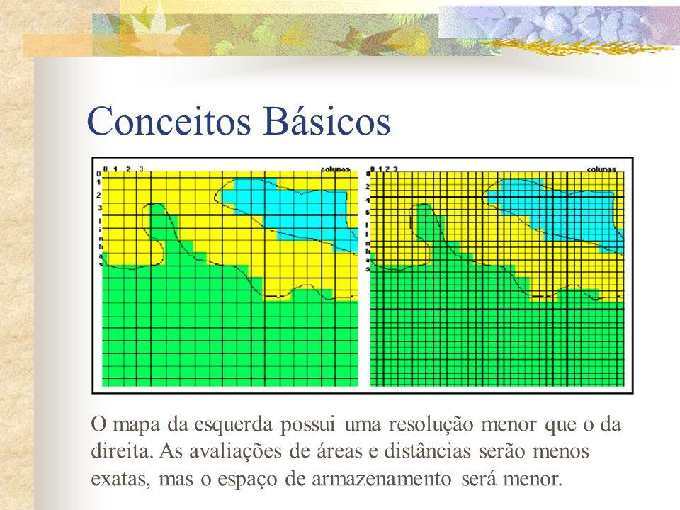 Conceitos Básicos O mapa da esquerda possui uma resolução menor que o da. direita. As avaliações de áreas e distâncias serão menos.