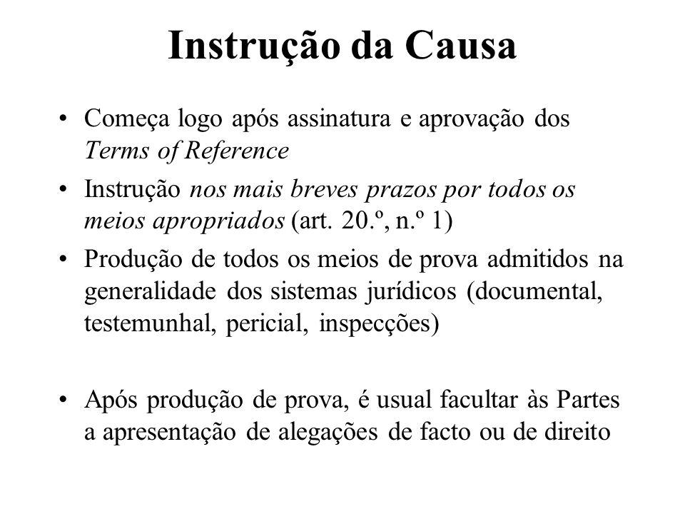 Instrução da Causa Começa logo após assinatura e aprovação dos Terms of Reference.