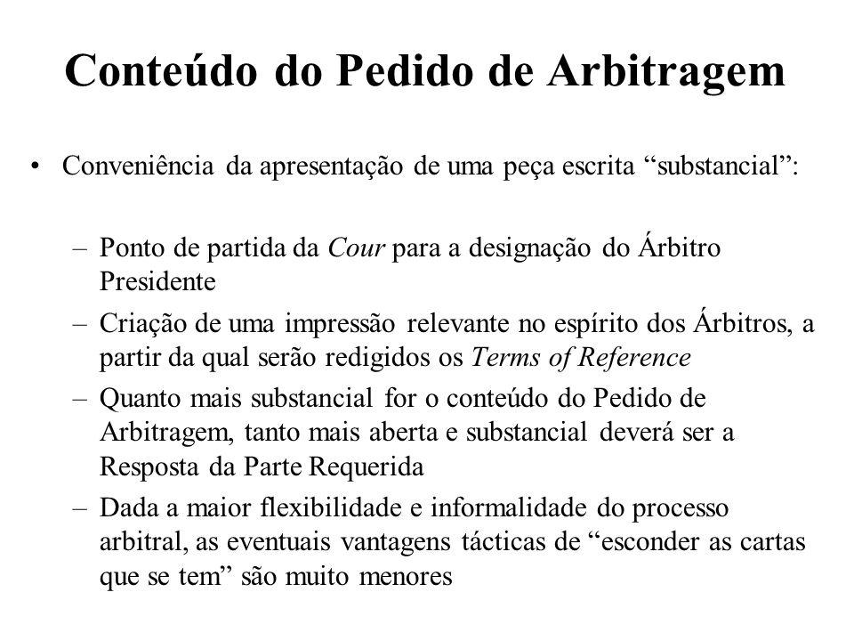 Conteúdo do Pedido de Arbitragem