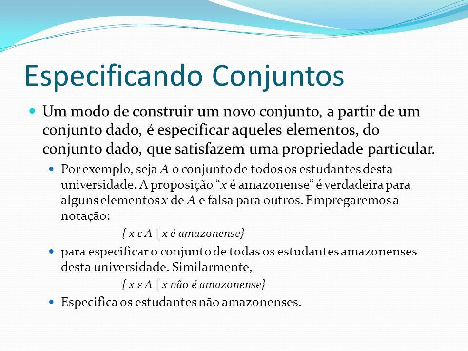 Especificando Conjuntos