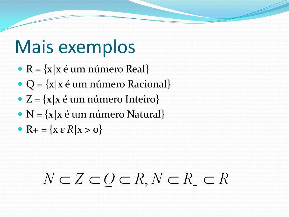 Mais exemplos R = {x|x é um número Real}