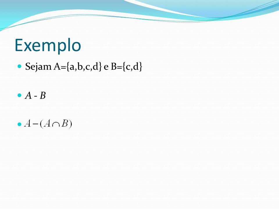 Exemplo Sejam A={a,b,c,d} e B={c,d} A - B