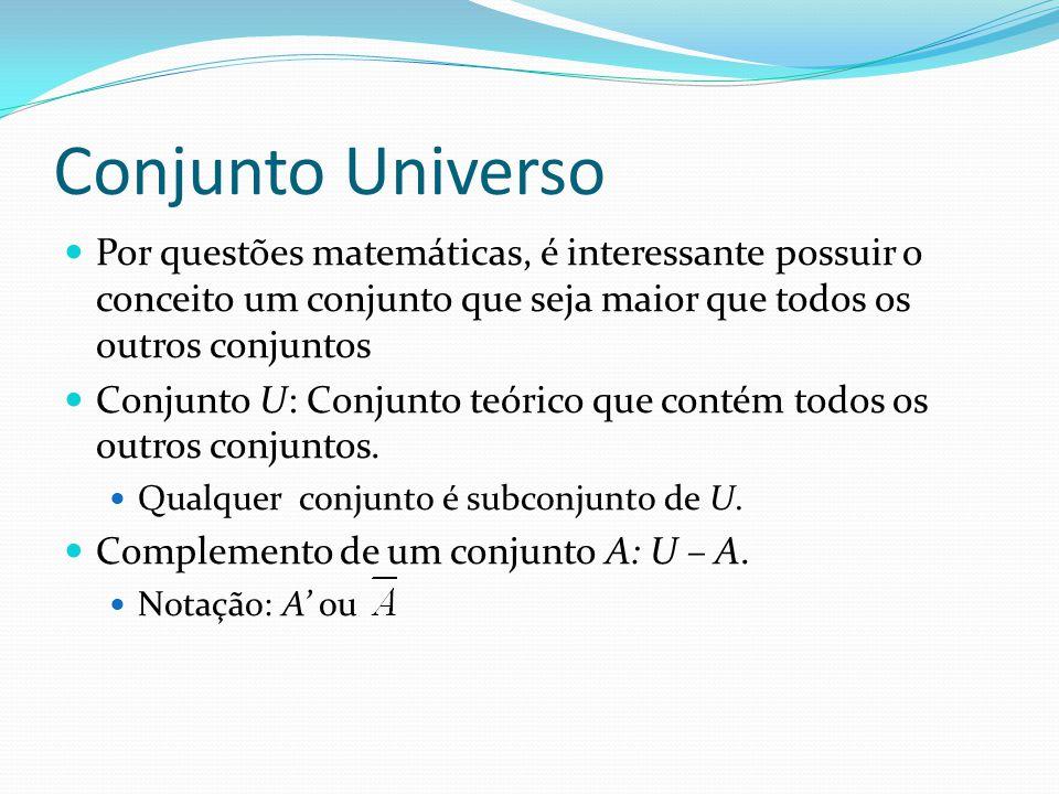 Conjunto Universo Por questões matemáticas, é interessante possuir o conceito um conjunto que seja maior que todos os outros conjuntos.
