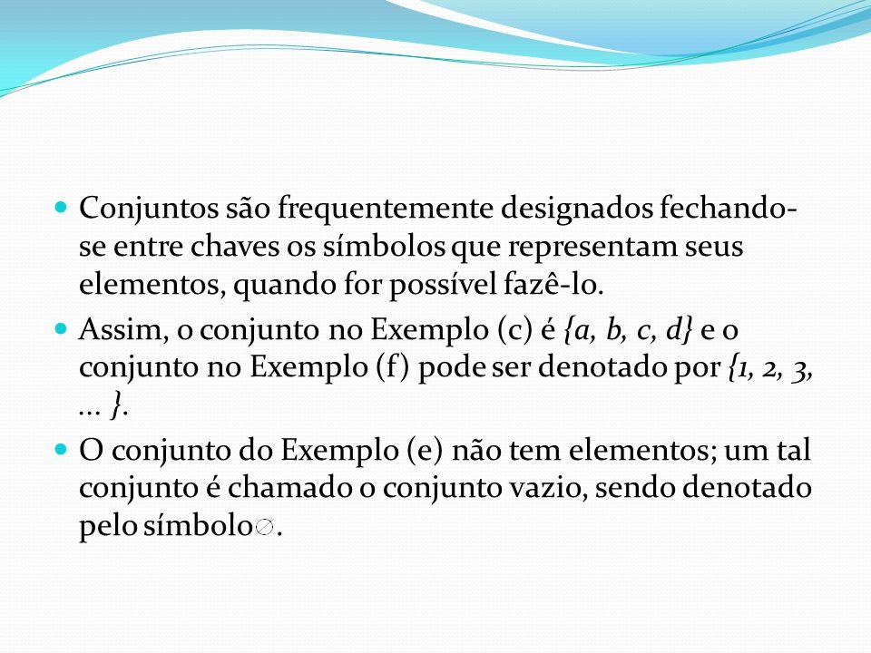 Conjuntos são frequentemente designados fechando-se entre chaves os símbolos que representam seus elementos, quando for possível fazê-lo.