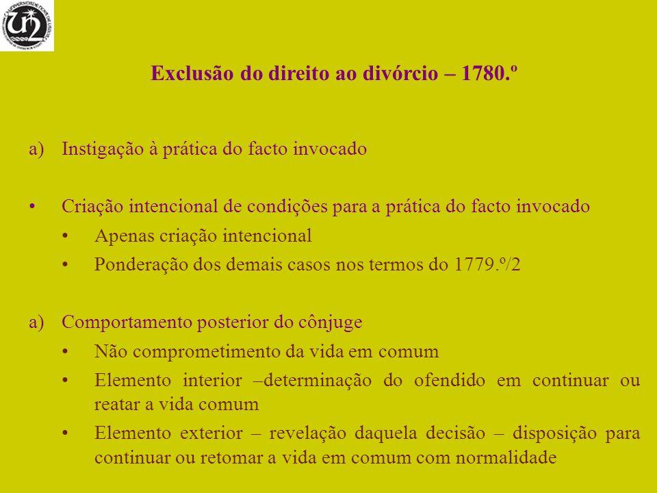 Exclusão do direito ao divórcio – 1780.º