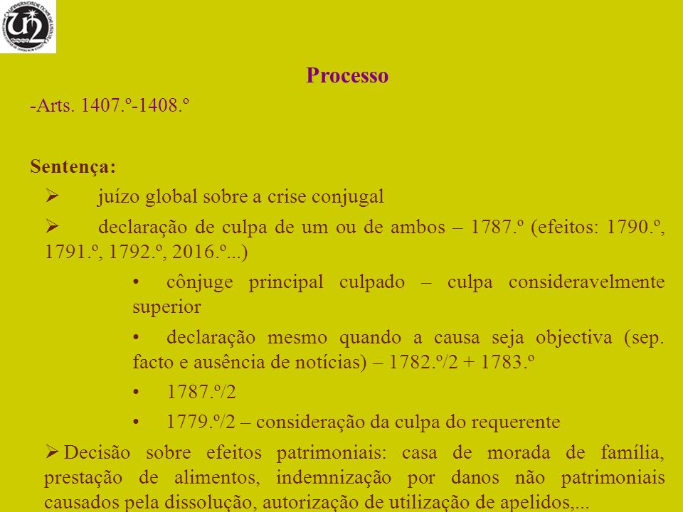 Processo Sentença: juízo global sobre a crise conjugal