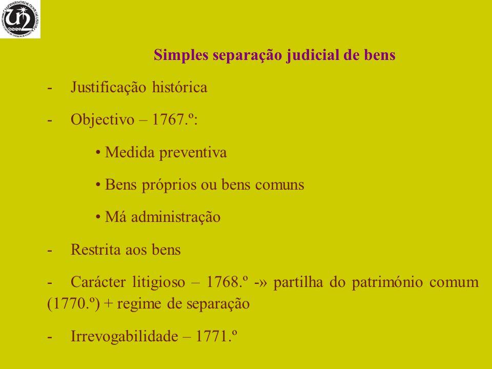 Simples separação judicial de bens
