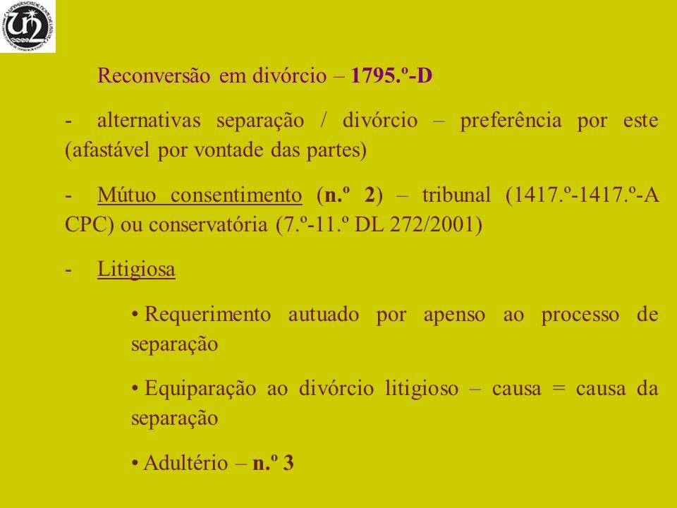 Reconversão em divórcio – 1795.º-D