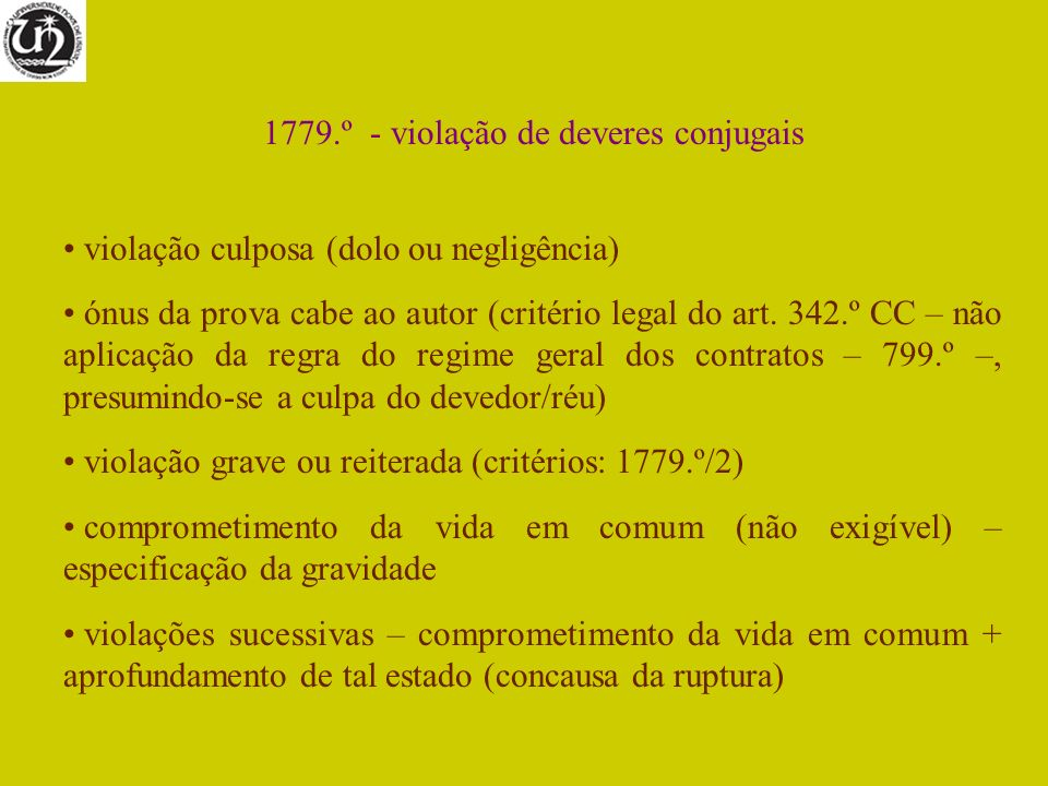 1779.º - violação de deveres conjugais