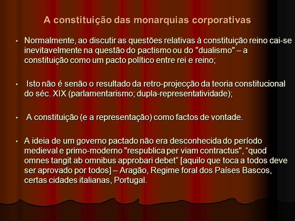 A constituição das monarquias corporativas