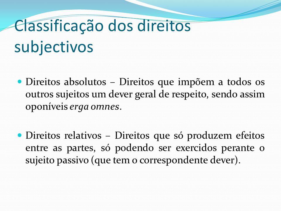 Classificação dos direitos subjectivos