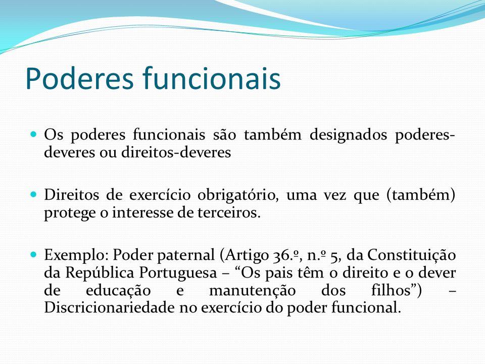 Poderes funcionais Os poderes funcionais são também designados poderes-deveres ou direitos-deveres.