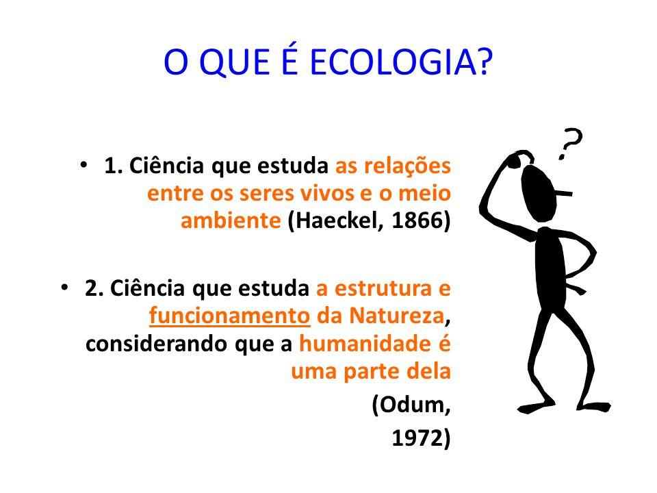 O QUE É ECOLOGIA 1. Ciência que estuda as relações entre os seres vivos e o meio ambiente (Haeckel, 1866)