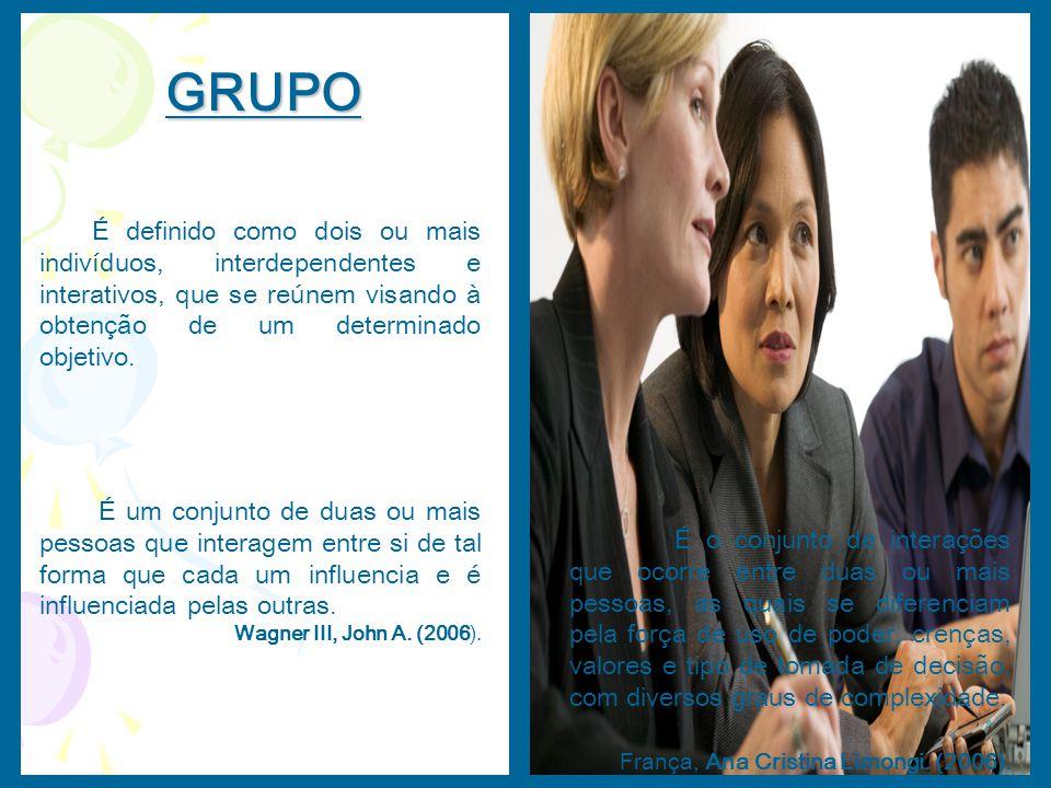 GRUPO É definido como dois ou mais indivíduos, interdependentes e interativos, que se reúnem visando à obtenção de um determinado objetivo.