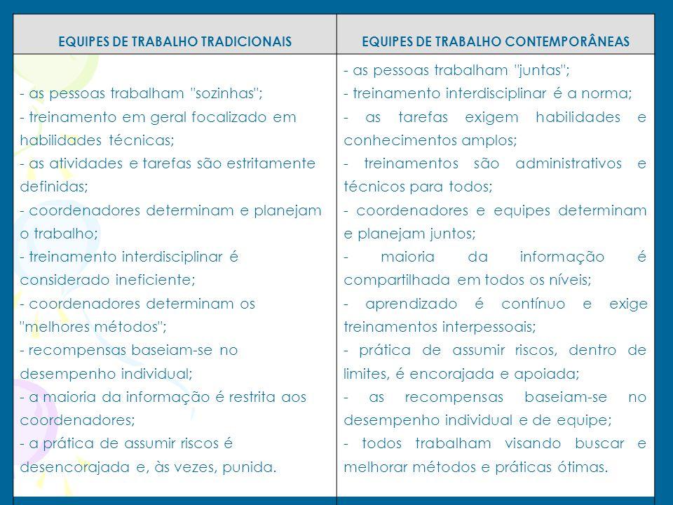 EQUIPES DE TRABALHO TRADICIONAIS