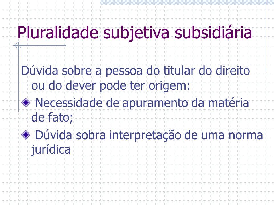 Pluralidade subjetiva subsidiária