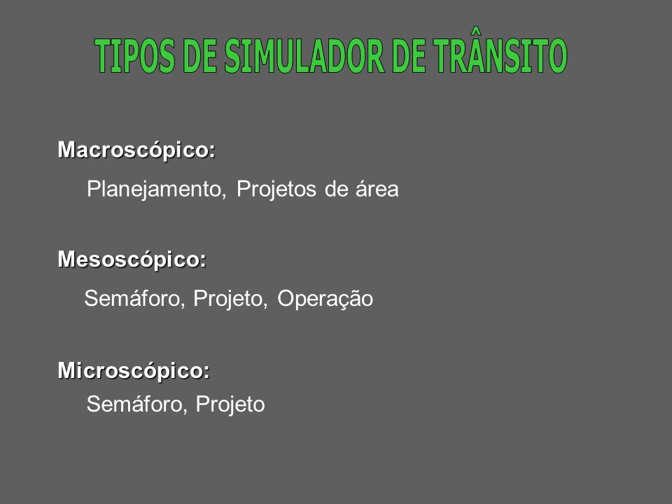 TIPOS DE SIMULADOR DE TRÂNSITO